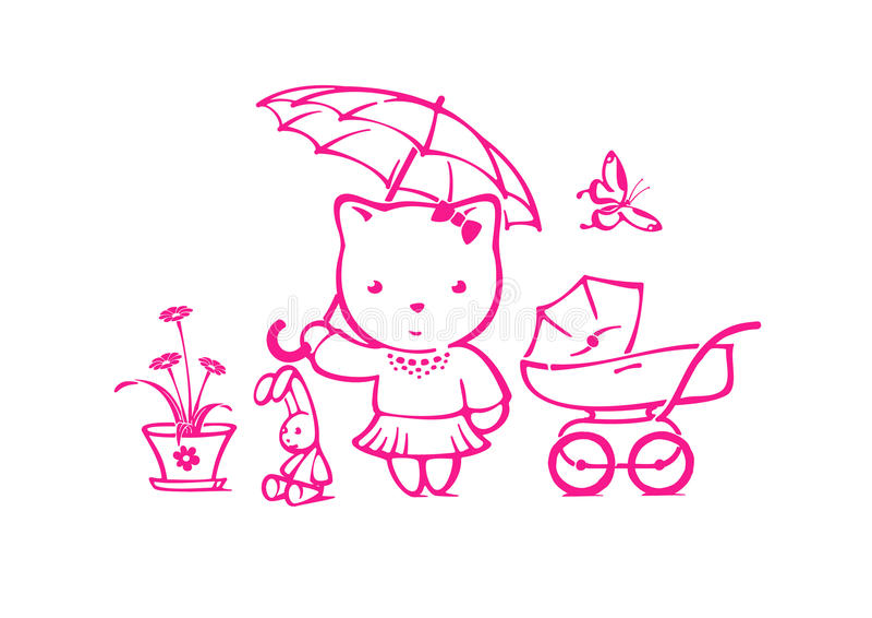 Комплект игрушек для девушки иллюстрация штока