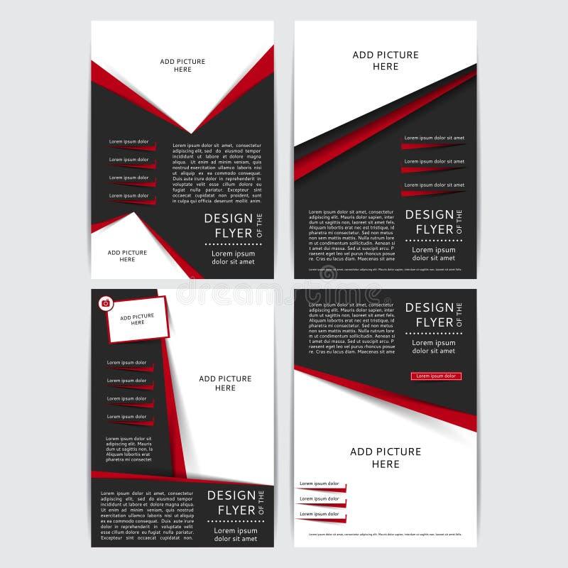 Комплект дизайна вектора черных и красных рогулек, крышки, брошюры, плаката, отчета с местами для изображений иллюстрация штока