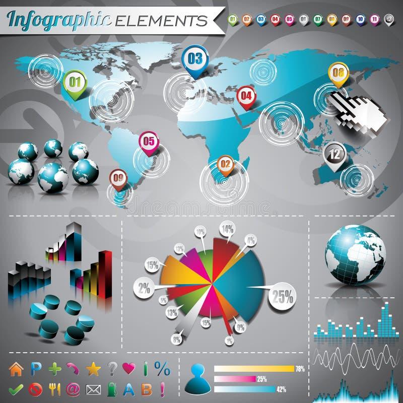 Комплект дизайна вектора infographic элементов. иллюстрация штока