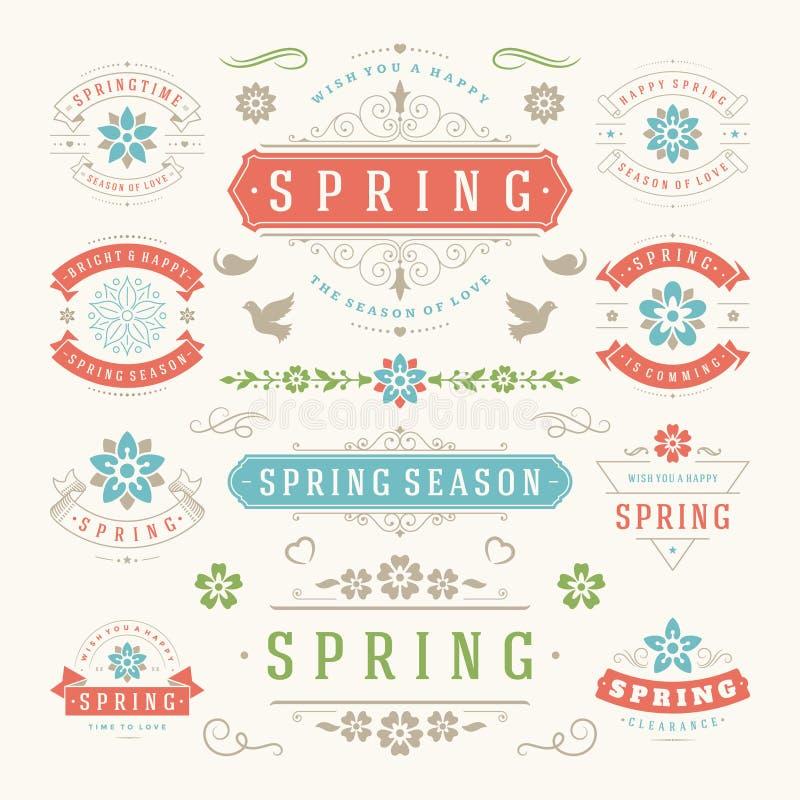 Комплект дизайна весны типографский Ретро и винтажные шаблоны стиля иллюстрация штока