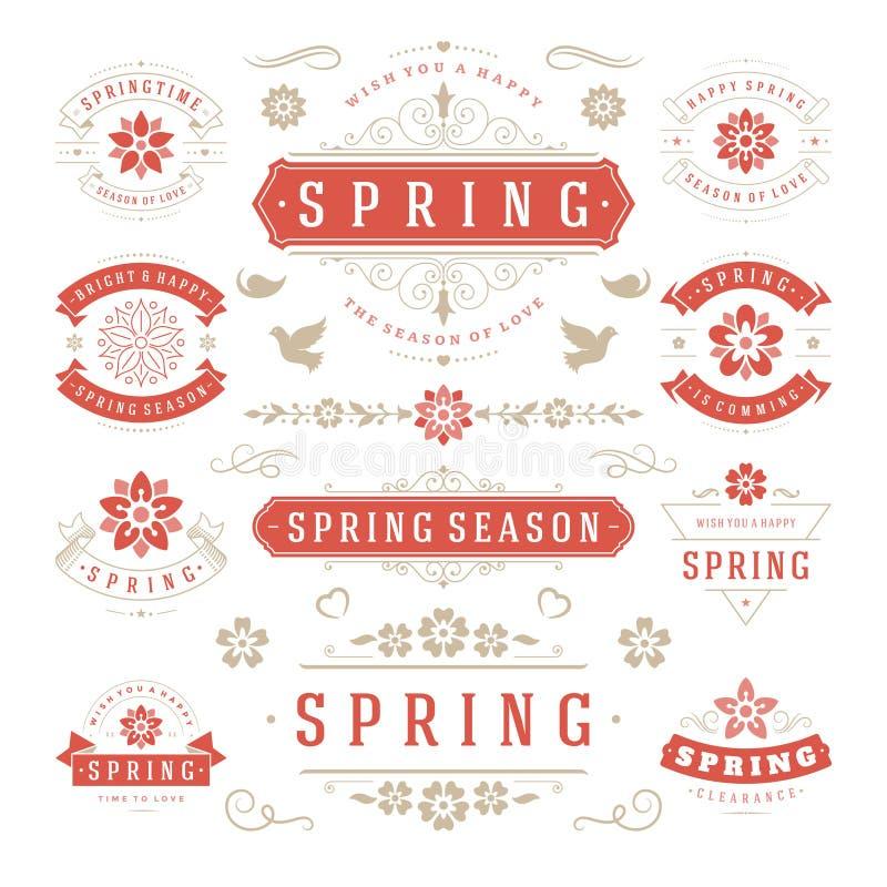 Комплект дизайна весны типографский Ретро и винтажные шаблоны стиля бесплатная иллюстрация