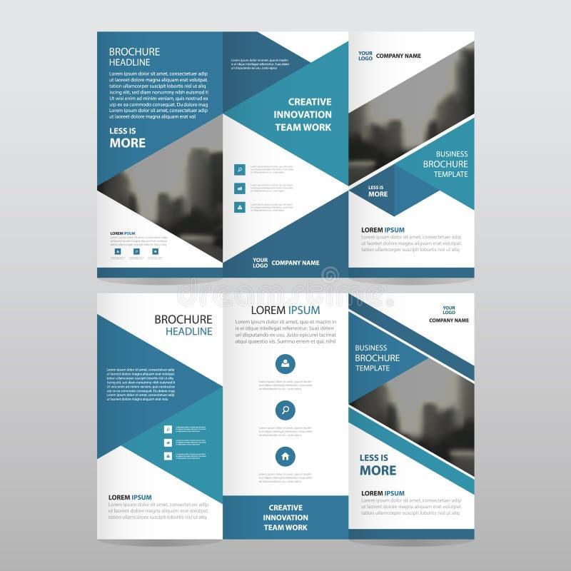 Комплект дизайна голубого вектора шаблона отчете о рогульки брошюры листовки дела треугольника trifold минимальный плоский, створ иллюстрация штока