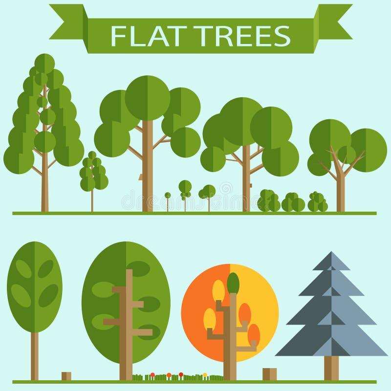 Комплект дизайна зеленых деревьев плоского бесплатная иллюстрация