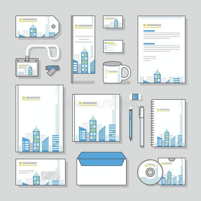 Комплект дизайна канцелярских принадлежностей шаблона фирменного стиля здания и канцелярские принадлежности дела иллюстрация вектора