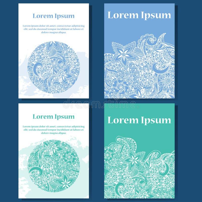Комплект дизайна карточек сеть универсалии шаблона страницы приветствию doodle карточки предпосылки Декоративные элементы для пла иллюстрация вектора