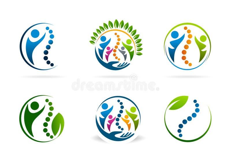 Комплект дизайна логотипа вектора хиропрактики