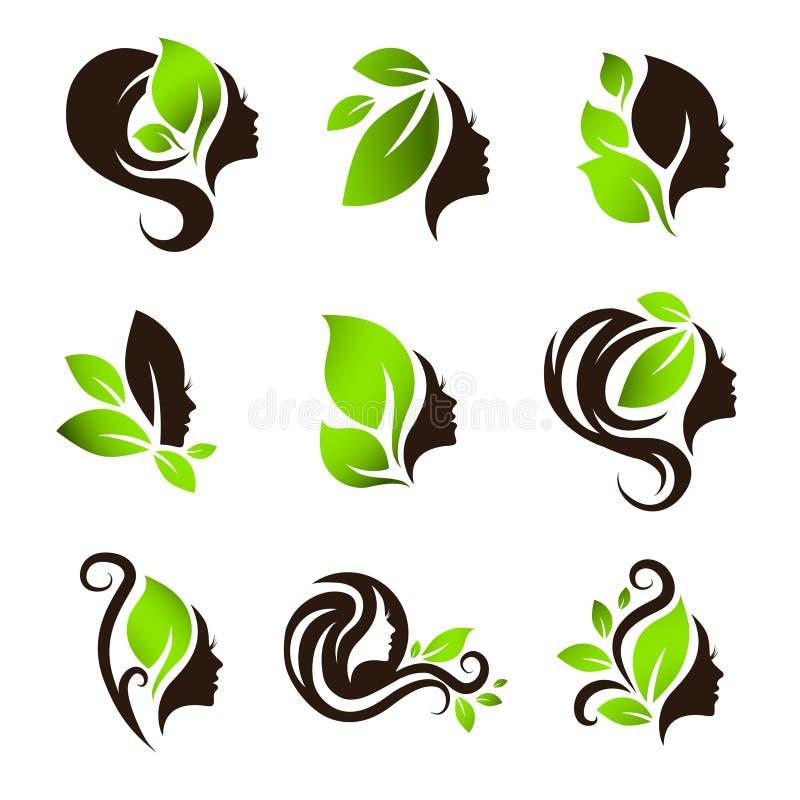 Комплект дизайна логотипа салона курорта волос красоты женщины естественный бесплатная иллюстрация