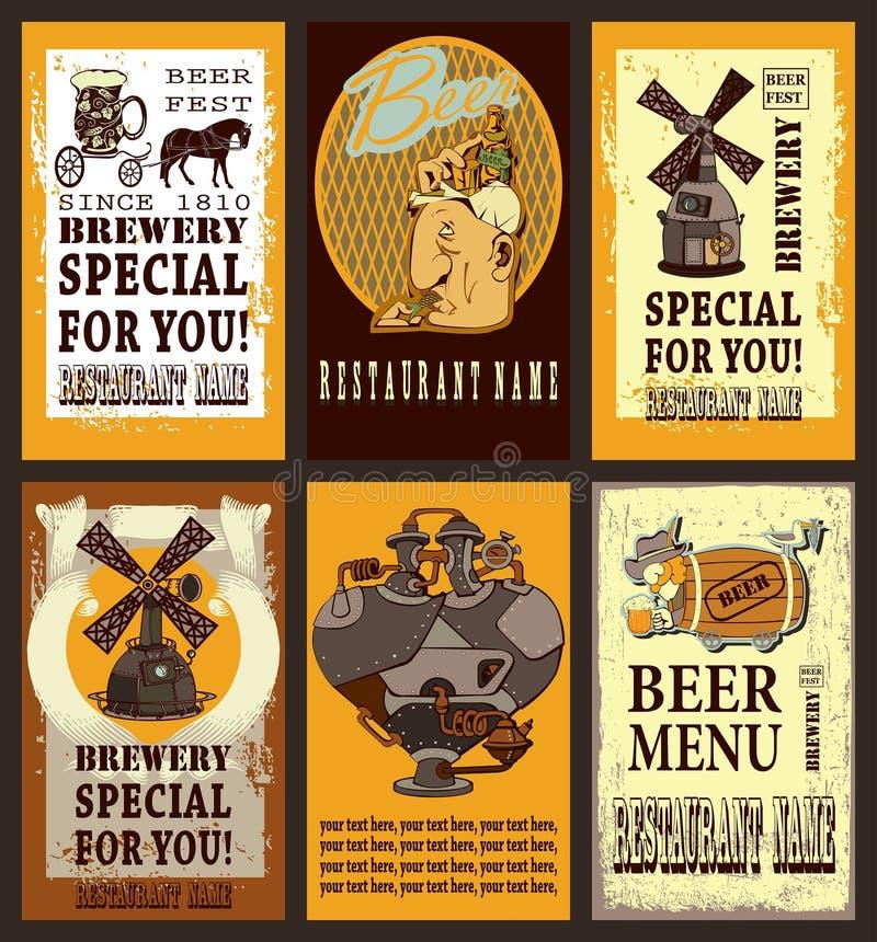 Комплект дизайна пива иллюстрация штока
