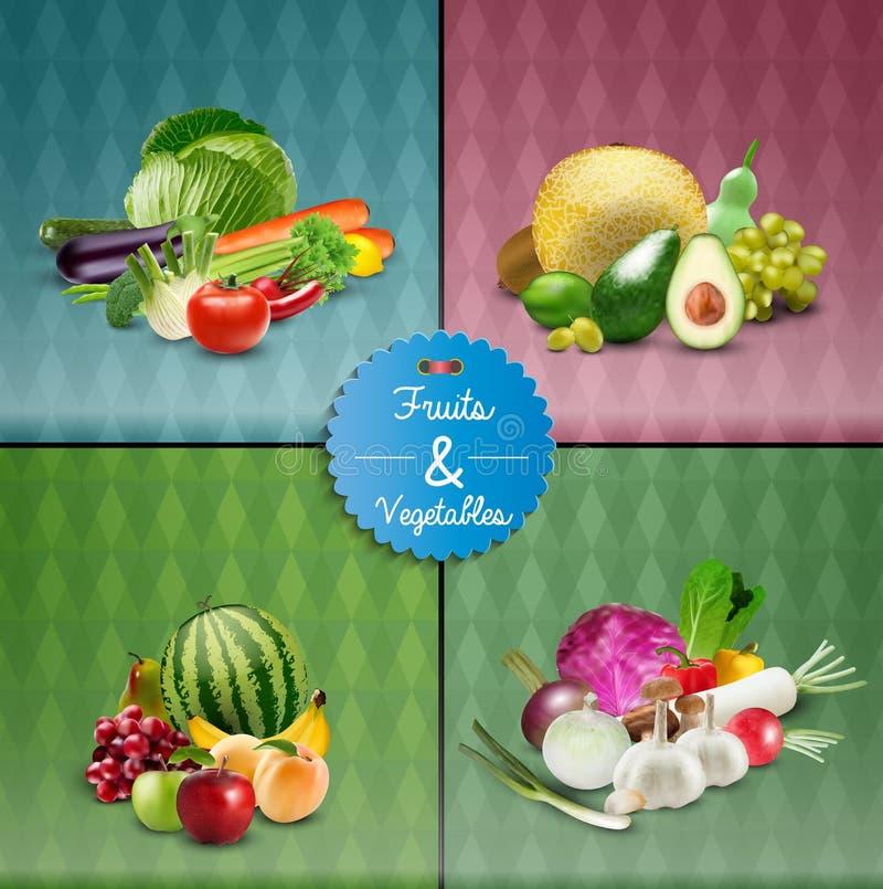 Комплект дизайна плаката фруктов и овощей иллюстрация вектора