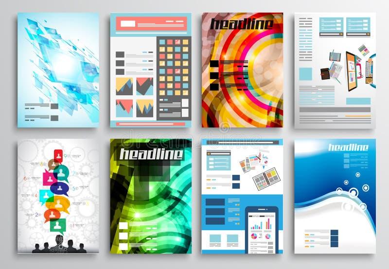 Комплект дизайна рогульки, шаблонов сети Дизайны брошюры, предпосылки технологии бесплатная иллюстрация