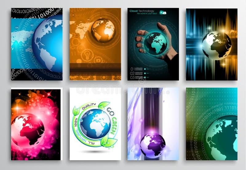 Комплект дизайна рогульки, шаблонов сети Дизайны брошюры, предпосылки технологии иллюстрация штока