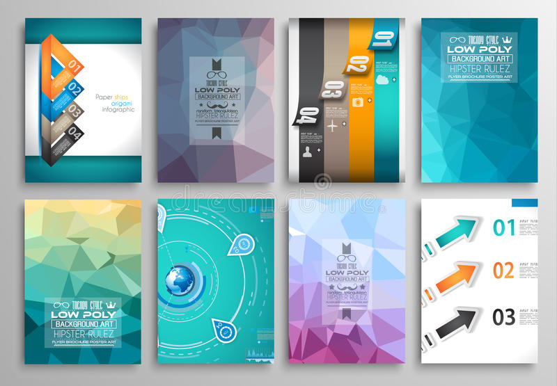 Комплект дизайна рогульки, шаблонов сети Дизайны брошюры, предпосылки технологии иллюстрация вектора