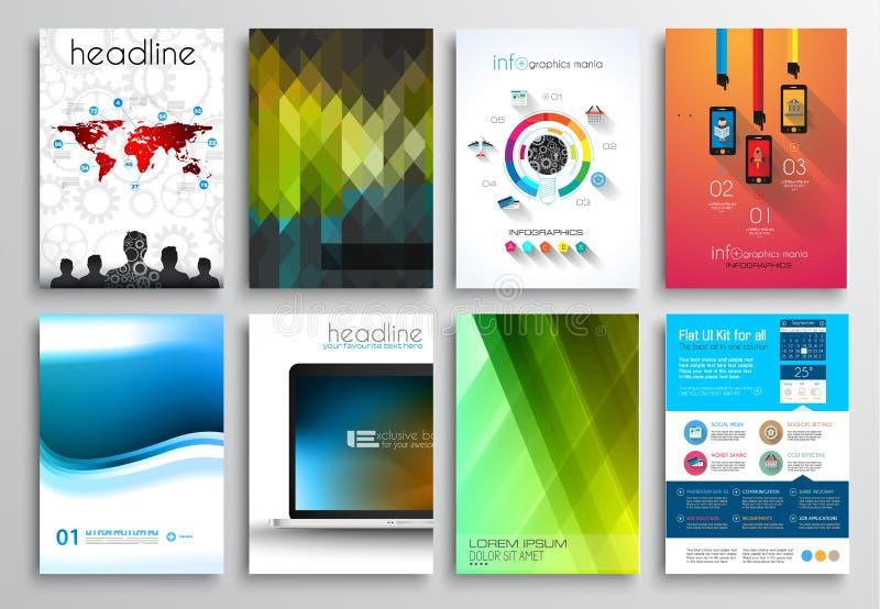 Комплект дизайна рогульки, шаблонов сети Дизайны брошюры иллюстрация вектора