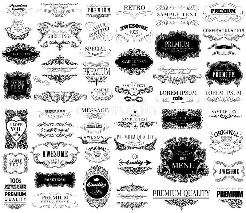 Комплект дизайна рук-чертежа каллиграфического флористического иллюстрация штока