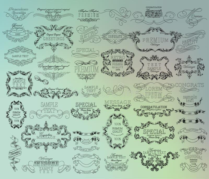 Комплект дизайна рук-чертежа каллиграфического флористического иллюстрация вектора