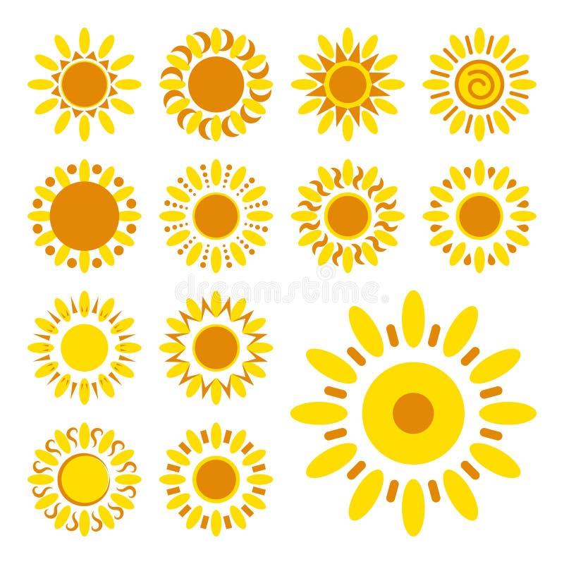Комплект изолированных значков маргаритки Силуэты простых цветков вектора бесплатная иллюстрация