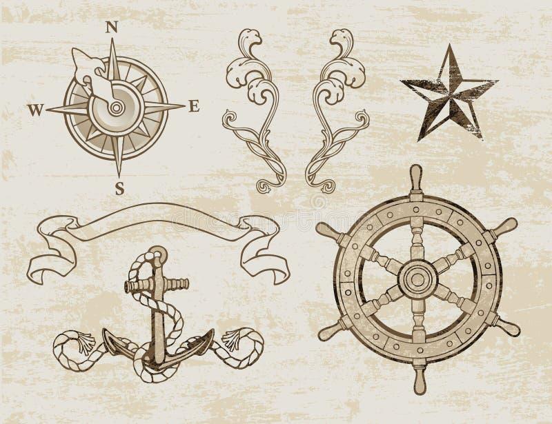 Морской комплект конструкции иллюстрация вектора