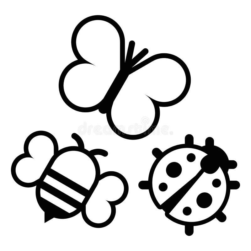 Комплект изолированных насекомых шаржа милых бесплатная иллюстрация