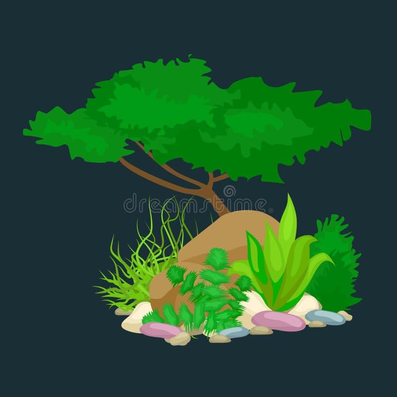 Комплект изолировал красочные кораллы и водоросли, флору вектора подводную, фауну иллюстрация штока