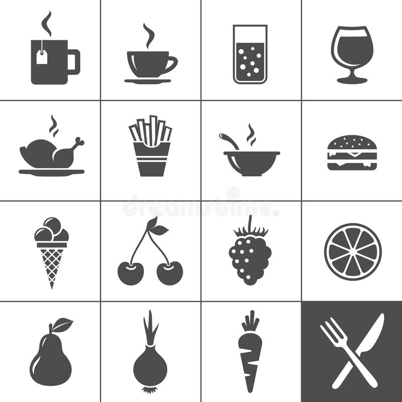 Комплект иконы еды и пить. Серия Simplus иллюстрация вектора