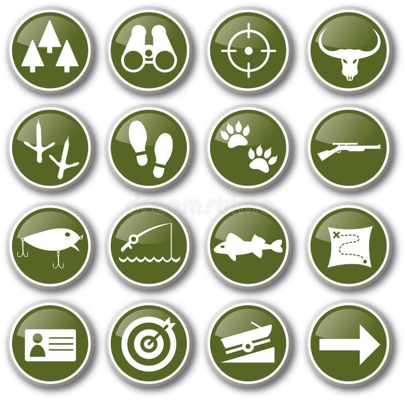 комплект иконы звероловства рыболовства бесплатная иллюстрация