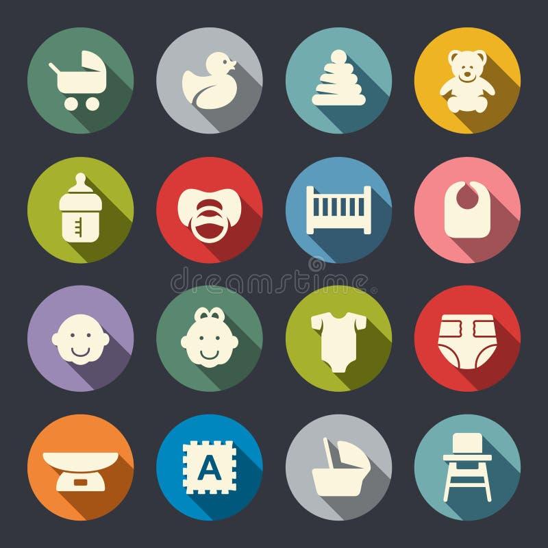 Комплект иконы младенца также вектор иллюстрации притяжки corel бесплатная иллюстрация