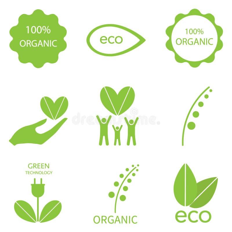 Комплект иконы экологичности иллюстрация штока