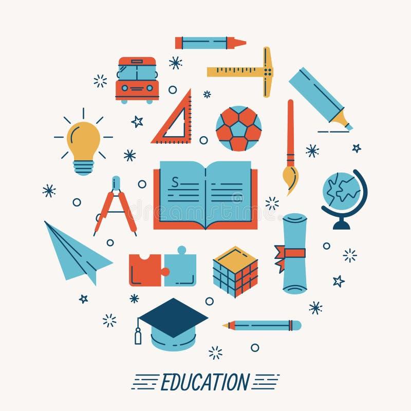 Комплект икон образования бесплатная иллюстрация