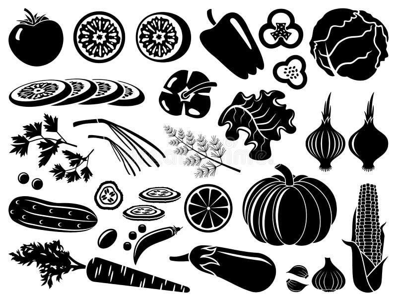 Комплект икон овощей иллюстрация штока
