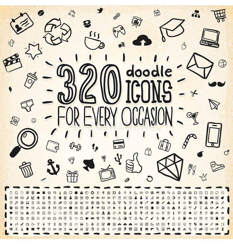 Комплект 320 икон Doodle всеобщий иллюстрация штока