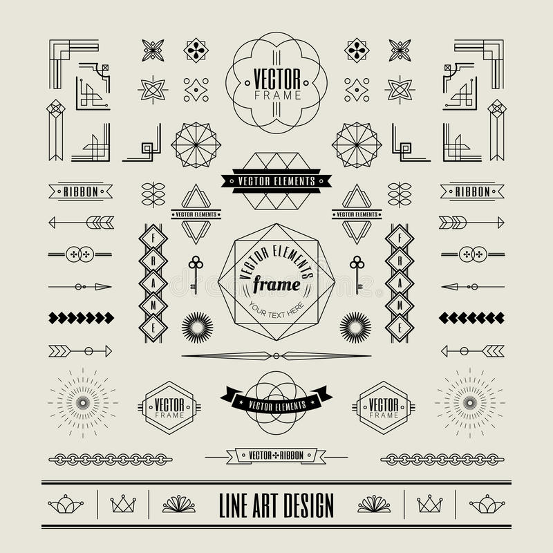Комплект линейной тонкой линии границы рамки дизайна стиля Арт Деко ретро винтажной иллюстрация вектора