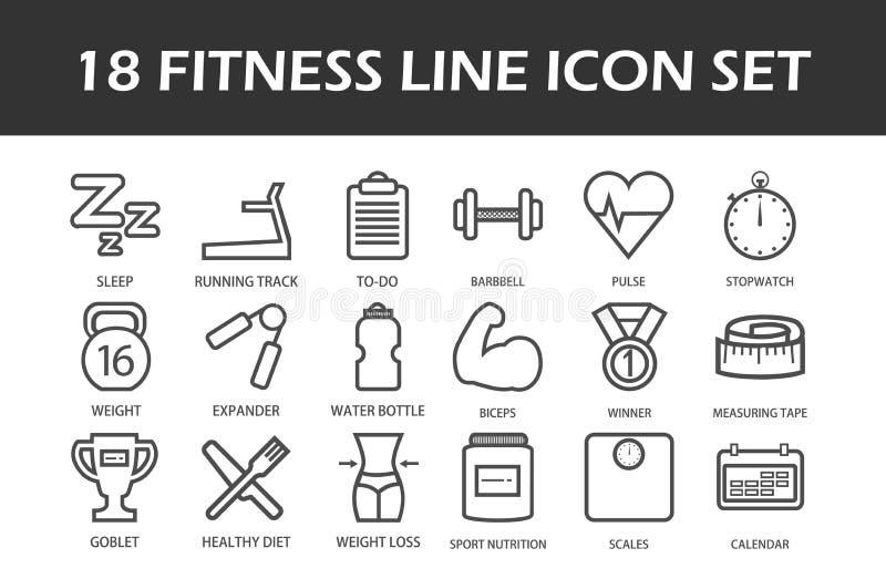 Комплект линии значков фитнеса 18 иллюстрация штока