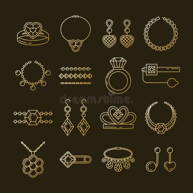 Комплект линии значков ювелирных изделий вектора Собрание диаманта роскошное изолированное на темноте Diadem серег ожерелья кольц иллюстрация вектора