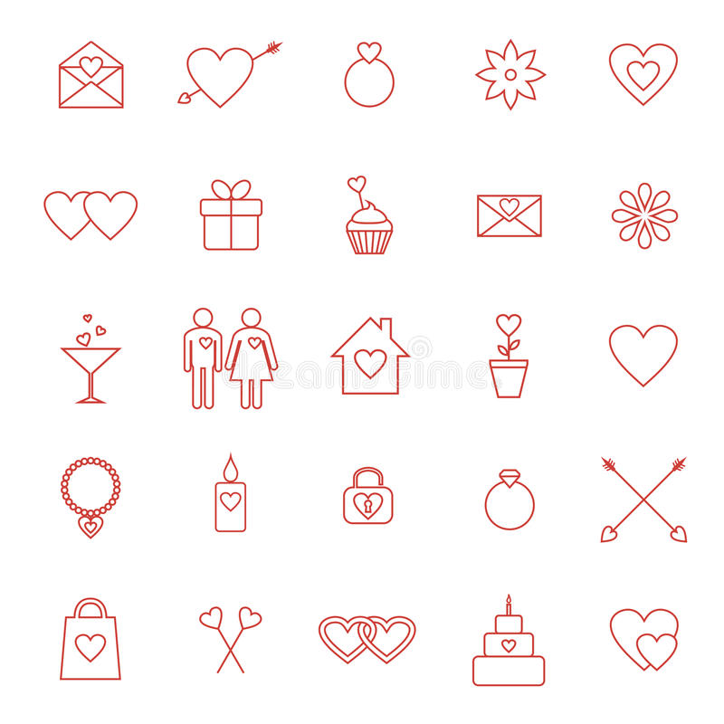 Комплект линии значков для дня или свадьбы валентинки иллюстрация штока