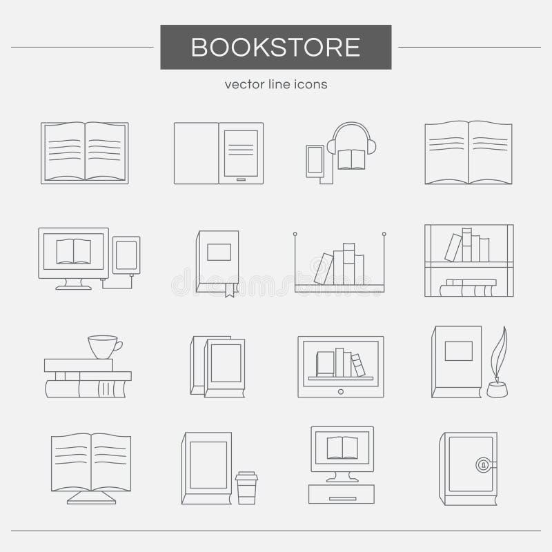 Комплект линии значков для bookstore бесплатная иллюстрация
