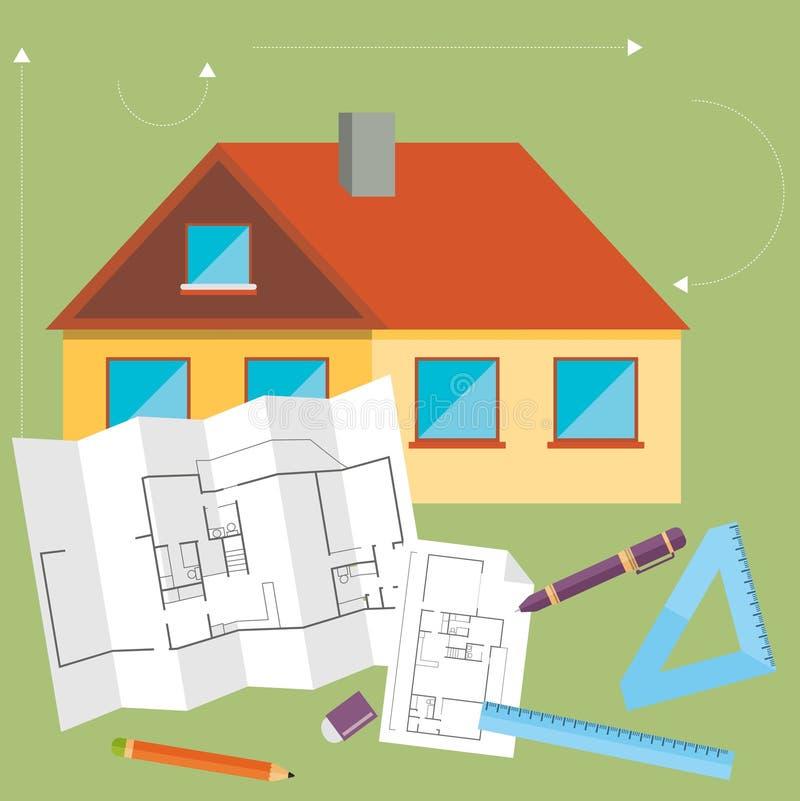 Комплект линии дизайна концепции архитектора вектора плоской иллюстрация вектора