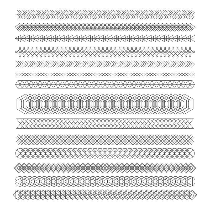 Комплект линии дизайна elements2 геометрического битника винтажного иллюстрация вектора