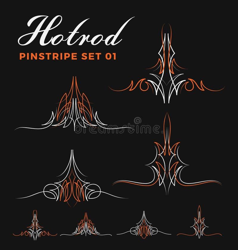 Комплект линии искусства striping штыря 2 тонов винтажной иллюстрация вектора