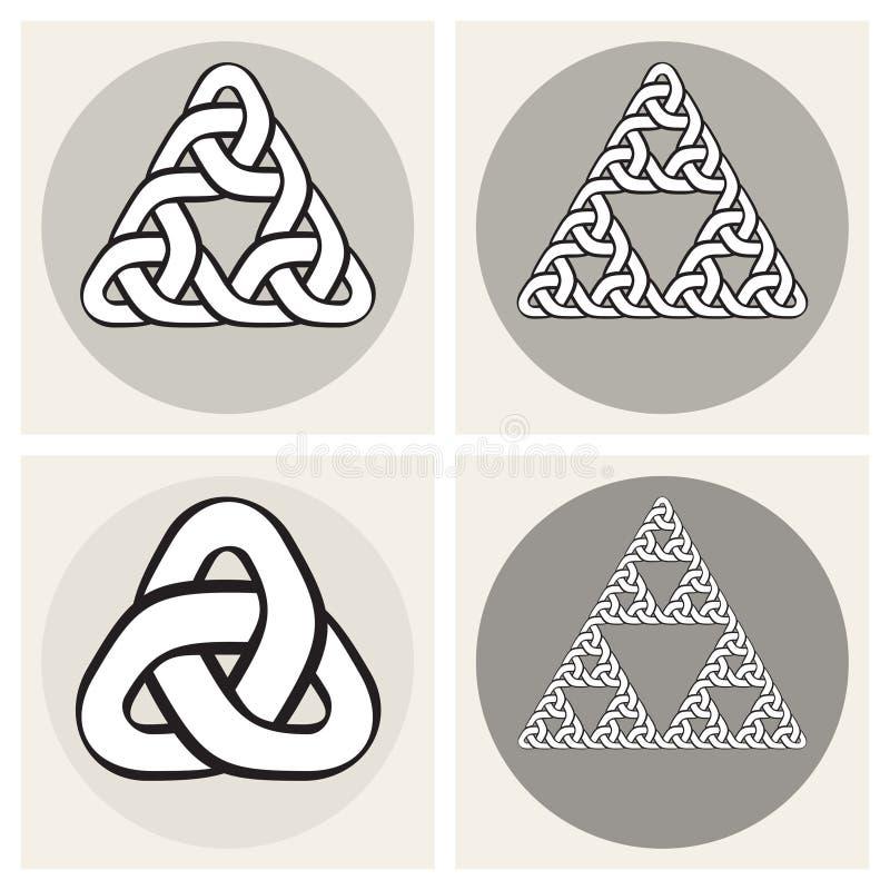 Комплект линии элементов 4 векторов кельтской вплетая дизайна узлов треугольника бесплатная иллюстрация