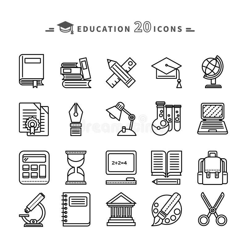 Комплект линий значков образования на белой предпосылке бесплатная иллюстрация