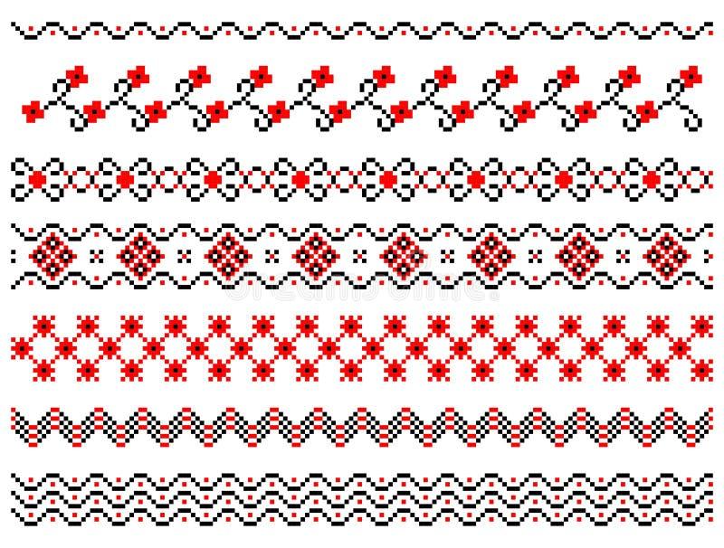 Комплект линий картины вышивки бесплатная иллюстрация