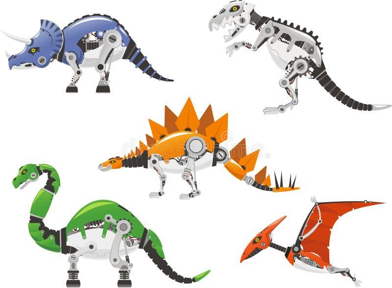 Комплект динозавра робота бесплатная иллюстрация
