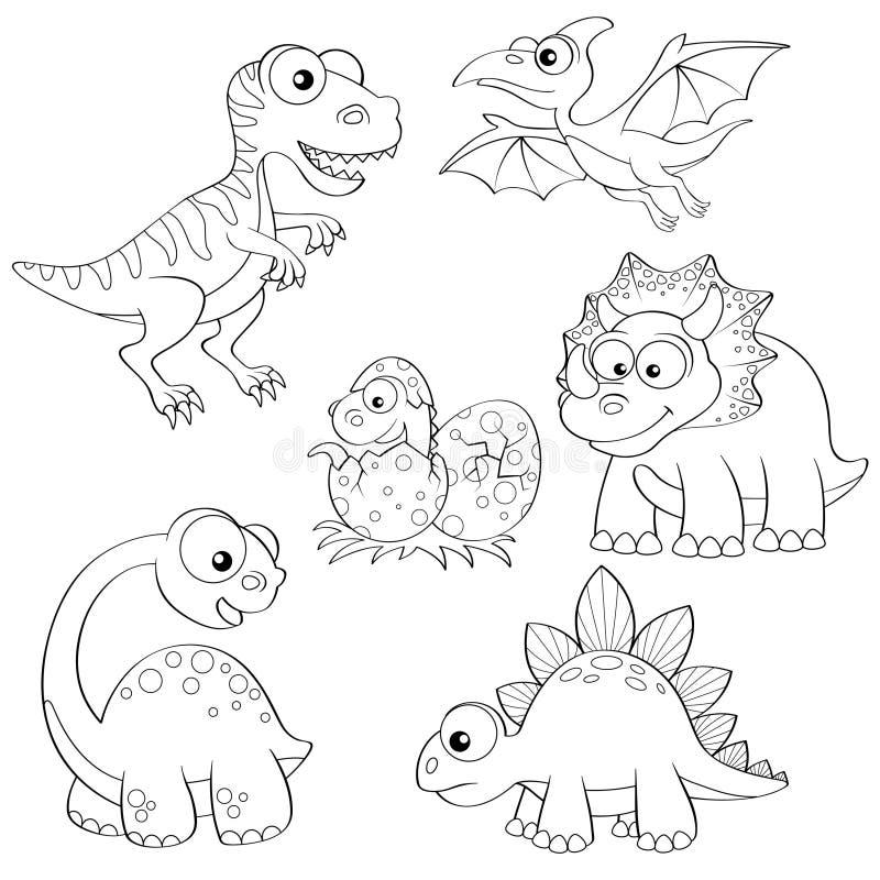 Комплект динозавров шаржа иллюстрация штока