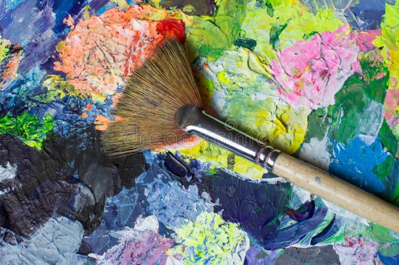 Комплект инструментов искусства: кисть вентилятора стоковые фотографии rf