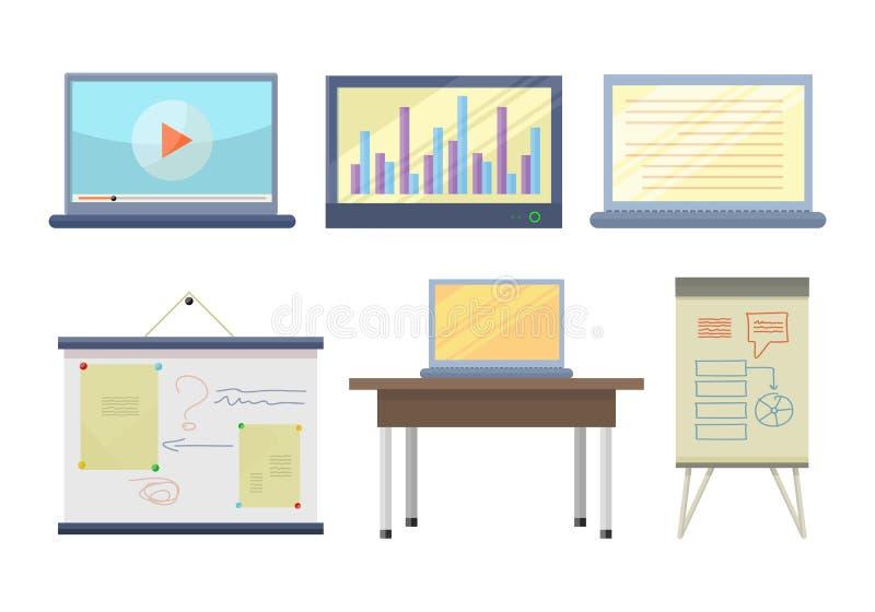 Комплект инструментов для иллюстрации семинара и лекции иллюстрация штока