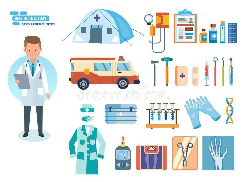 Комплект инструментов для медицинского исследования, обработки, работы в заведении бесплатная иллюстрация