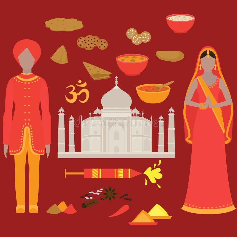 Комплект Индии Элементы дизайна Индуизма Женщина и человек Южной Азии красивая нося индийскую традиционную ткань Висок Landmar Та иллюстрация штока