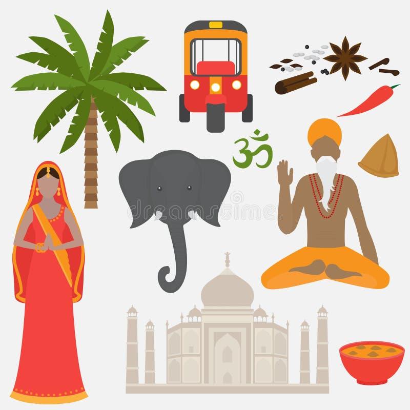 Комплект Индии Элементы дизайна Индуизма Женщина и человек Южной Азии красивая нося индийскую традиционную ткань Висок Landmar Та иллюстрация вектора
