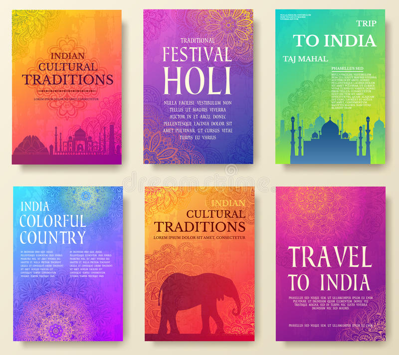 Комплект индийской концепции иллюстрации орнамента страны Искусство традиционное, плакат, книга, плакат, конспект, мотивы тахты стоковая фотография