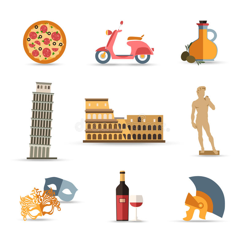 Комплект Италии изолировал значки перемещения красочные плоские иллюстрация штока